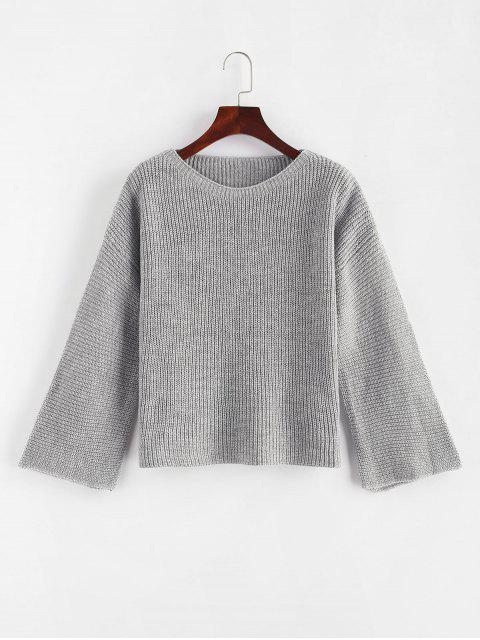 latest Plain Pullover Flare Sleeve Sweater - GRAY CLOUD ONE SIZE Mobile