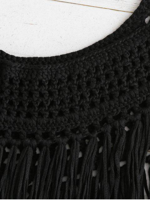 Haut à Bretelle en Crochet à Franges - Noir L Mobile