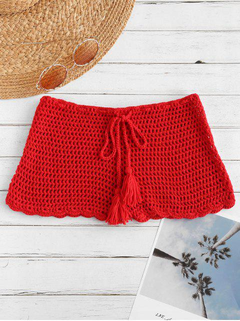 latest Drawstring Crochet Shorts - RED L Mobile