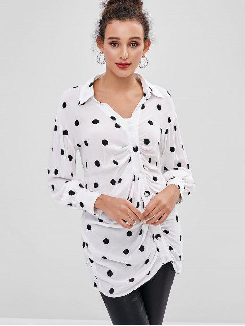 outfit Longline Polka Dot Draped Shirt - MILK WHITE M Mobile