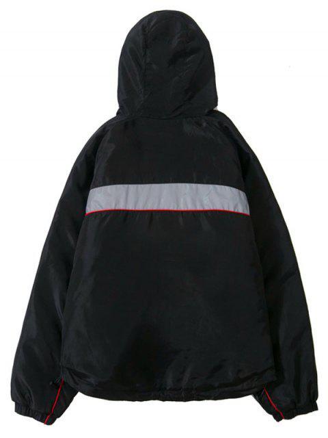 Manteau Parka à Capuche Lettre Imprimée à Manches Raglan - Noir M Mobile