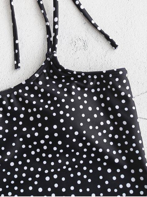 ladies ZAFUL Polka Dot Cami Swimsuit with Hairband - BLACK XL Mobile