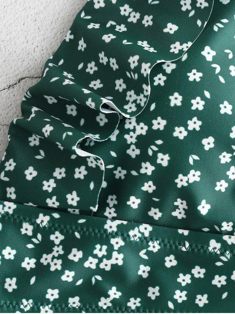 ZAFUL Ruffles Tiny Floral Bañador de una pieza - Bosque Verde Mediana XL Mobile