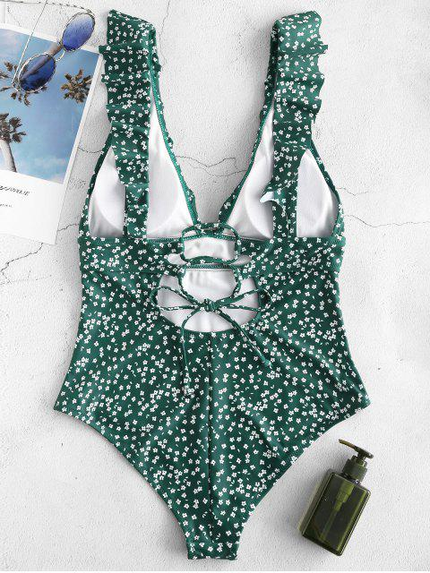 fancy ZAFUL Ruffles Tiny Floral One Piece Swimsuit - MEDIUM FOREST GREEN 2XL Mobile