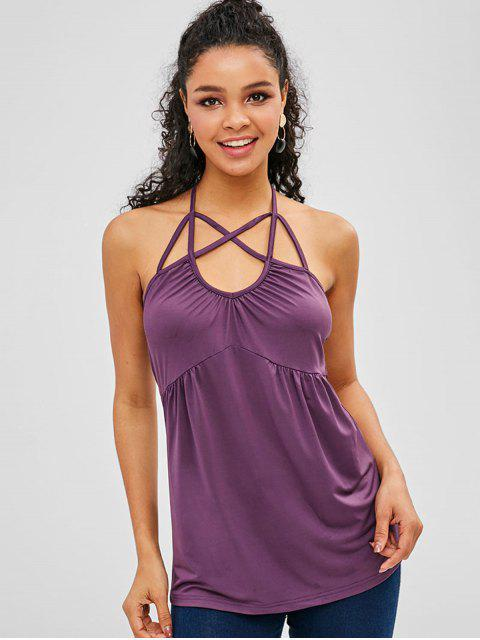 outfit Criss Cross Halter Tank Top - PURPLE S Mobile