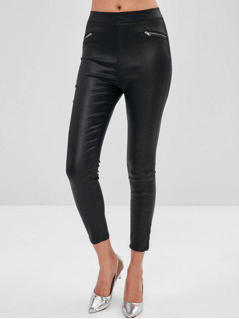 trendy Zipper Pocket Skinny Pants - BLACK S Mobile