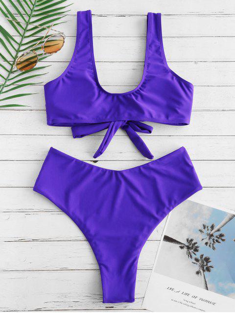 latest Bowknot High Waisted Bikini Set - PURPLE AMETHYST M Mobile