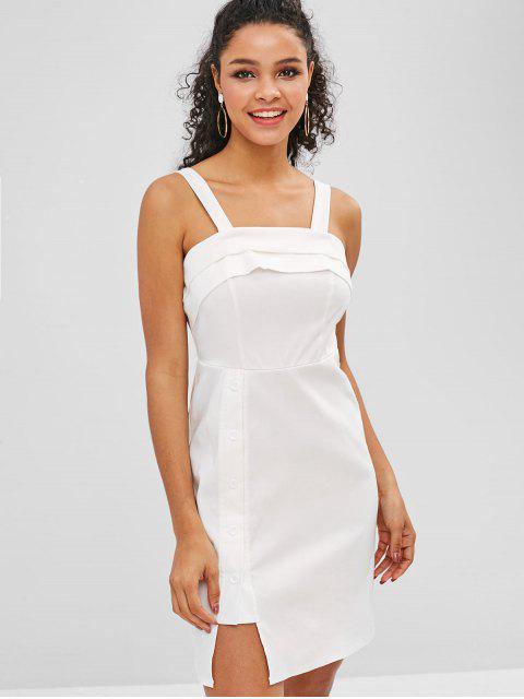 buy ZAFUL Layered Buttoned Mini Dress - WHITE M Mobile