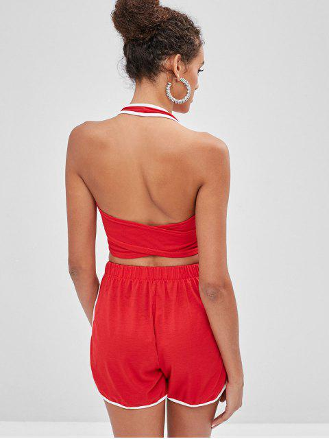best Halter Lace Up Top And Dolphin Shorts Set - RED L Mobile