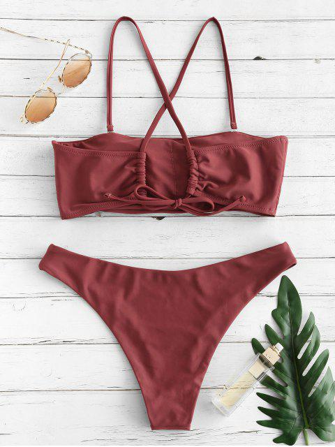 trendy ZAFUL Criss Cross Seam Bikini Set - CHESTNUT S Mobile