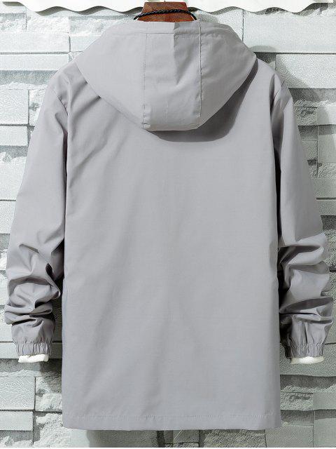 Veste Coupe Vent Zippée en Couleur Unie - Gris 3XL Mobile