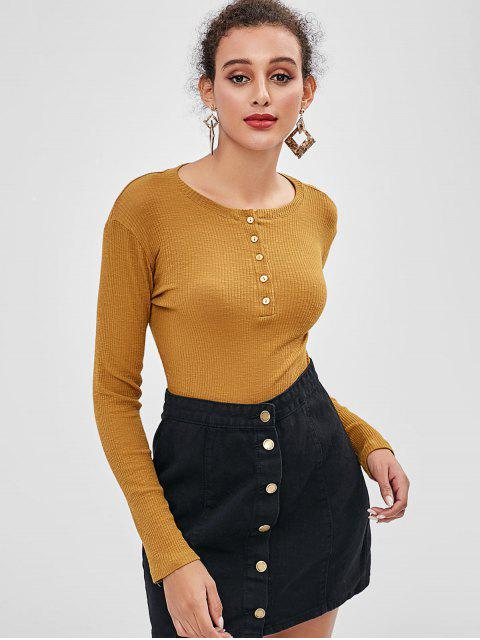 ladies Long Sleeve Half Buttoned Ribbed Top - BROWN S Mobile