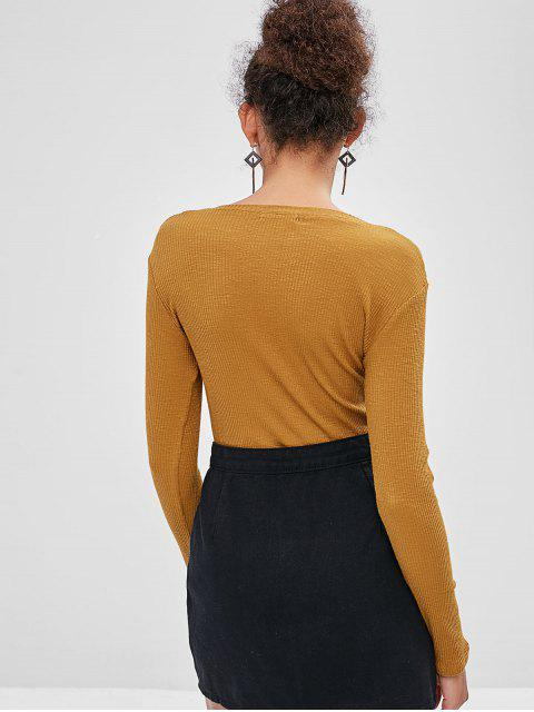 lady Long Sleeve Half Buttoned Ribbed Top - BROWN M Mobile
