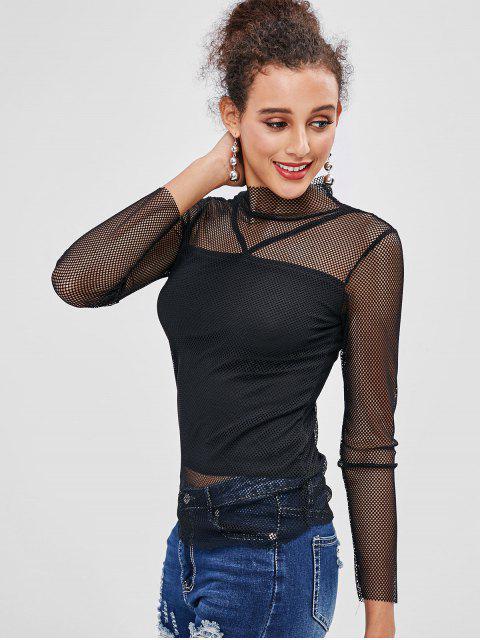 chic Fishnet Insert Mock Neck Overlay T-shirt - BLACK XL Mobile