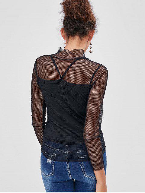 fancy Fishnet Insert Mock Neck Overlay T-shirt - BLACK 2XL Mobile