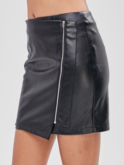 be575c8663ad ZAFUL Zip Up Faux Leather Short Skirt - Black Xl