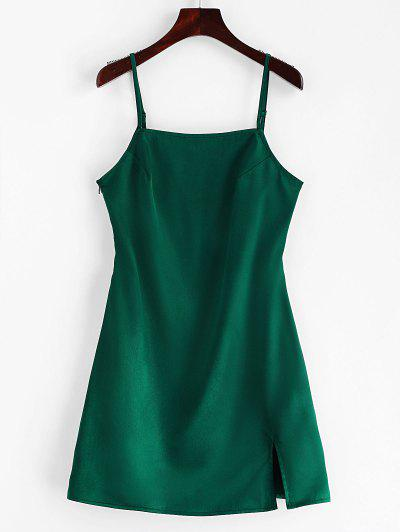 dd6ad8a7ed ZAFUL Slit Plain Cami Dress - Green S ...