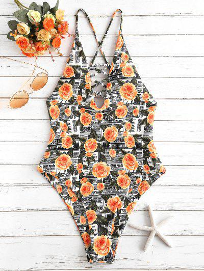 ZAFUL Flower Letter Criss Cross Swimsuit - Multi-a S