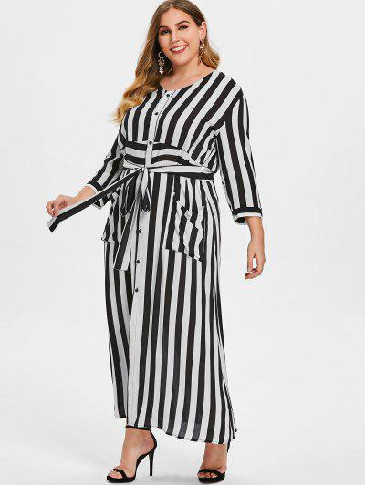 25ff40cd1c4 Striped Tie Plus Size Maxi Dress - White - White 2x ...