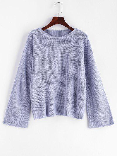 dbc7772e441d1 Plain Pullover Flare Sleeve Sweater - Blue Gray ...