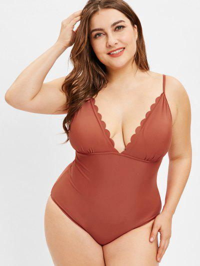 a22101150dd ZAFUL Plus Size Scalloped Cami Swimsuit - Chestnut Red L ...