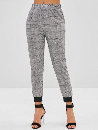 73b2b0a2d7e High Waist Plaid Jogger Pants - Gray S