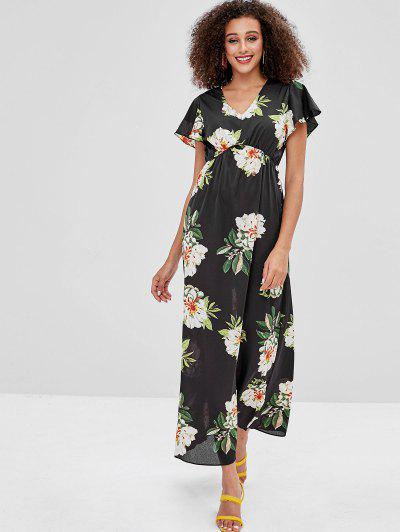 Flower Butterfly Sleeve Maxi Dress - Black - Black M 4daed13a1