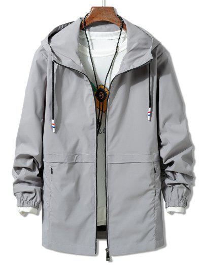 Solid Zipper Windbreaker Jacket - Gray Xl