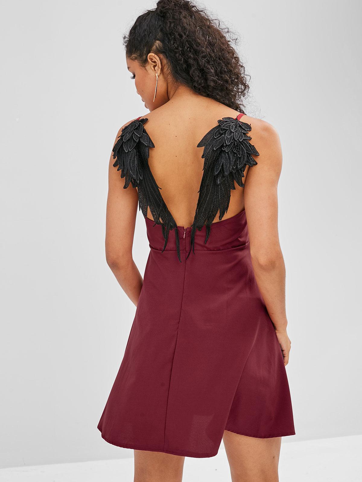 Wing Applique Open Back Dress
