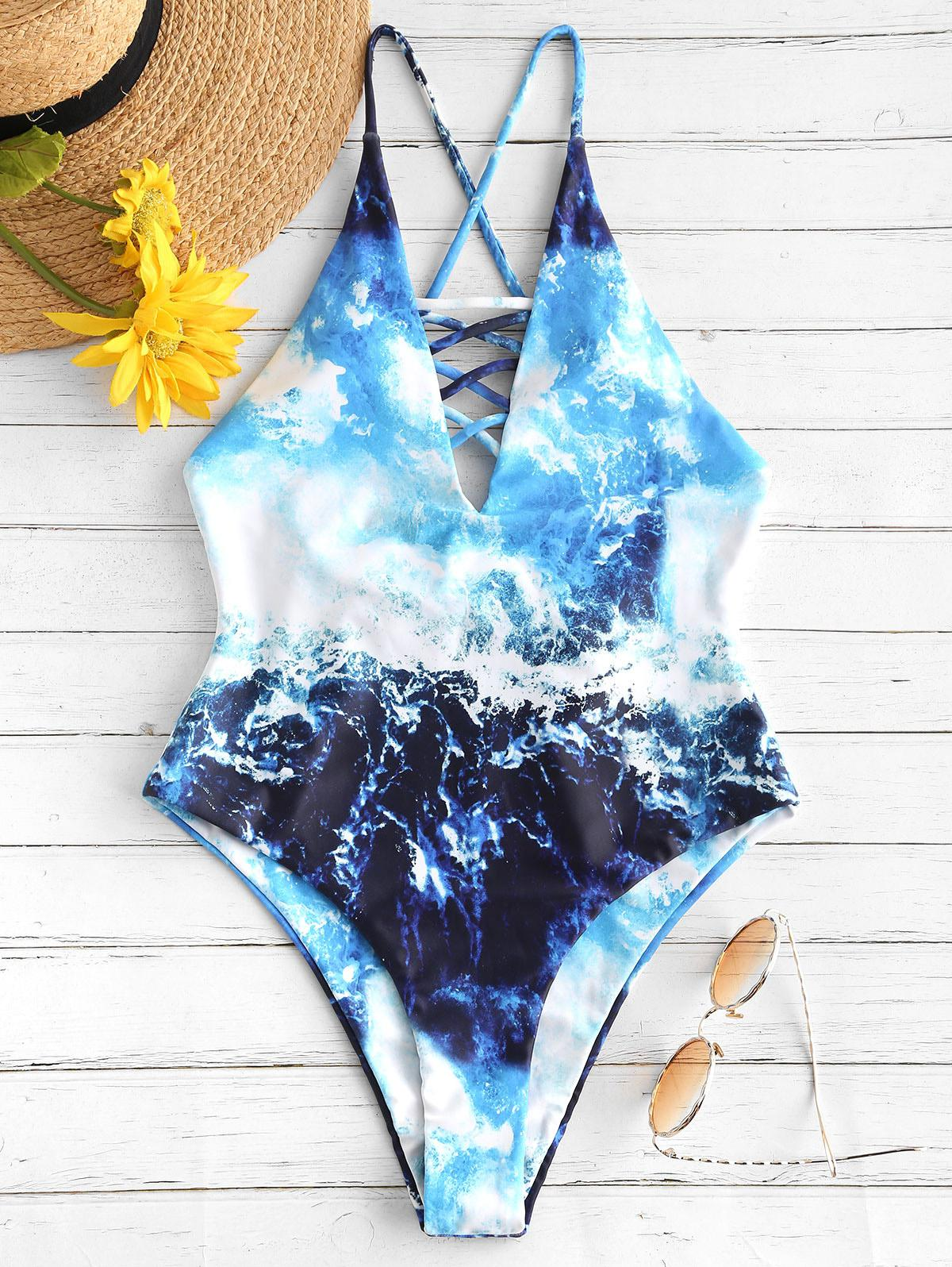 ZAFUL Wave Print Criss Cross Backless Swimsuit, Multi-a