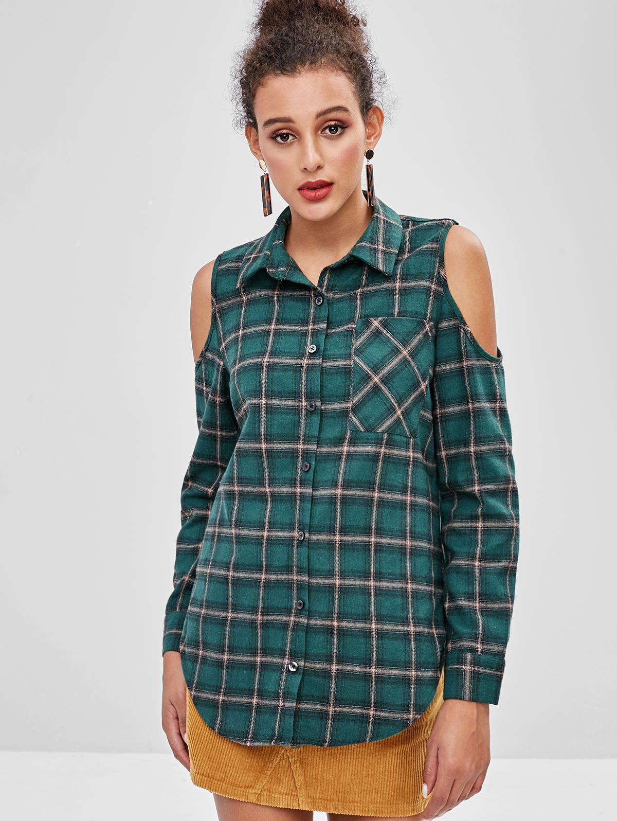 ZAFUL Cold Shoulder Plaid Button Up Shirt