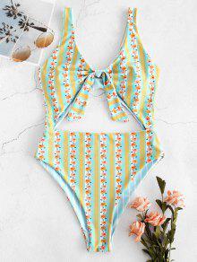 ZAFUL الأزهار مخطط انقطاع عقدة عكسها ملابس السباحة - متعددة-a Xl