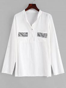 جيب الترتر الأعلى بأزرار - أبيض M