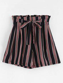 Tie Belt Striped High Waisted Shorts - متعدد M