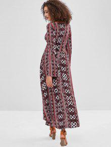 dacad55bc 47% OFF] 2019 ZAFUL Boho Ethnic Floral Long Sleeve Dress In MULTI ...