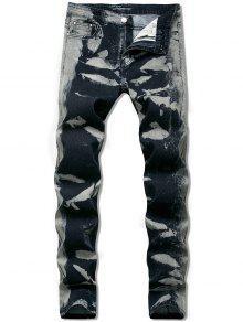الحبر الرسم جينز طويل مستقيم - Dark Slate Grey 40