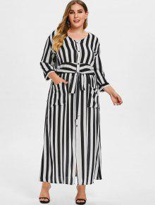 Striped Tie Plus Size Maxi Dress