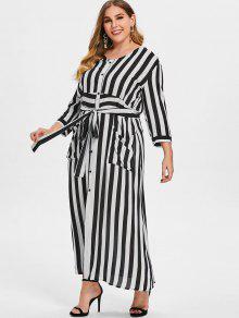 مخطط التعادل زائد حجم فستان ماكسي - أبيض 2x