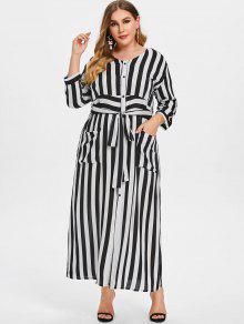 Striped Tie Plus Size Maxi Dress