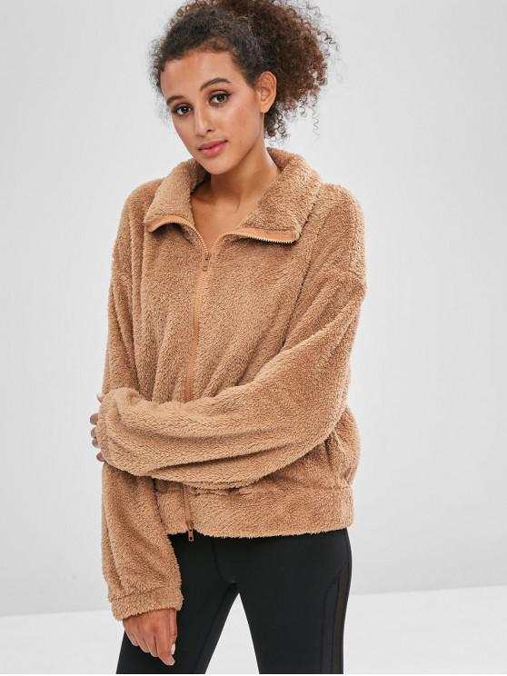 womens ZAFUL Fluffy Drop Shoulder Zipper Teddy Jacket - CAMEL BROWN L