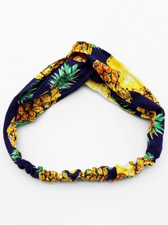 菠蘿印花波西米亞風格頭帶 - 藏青