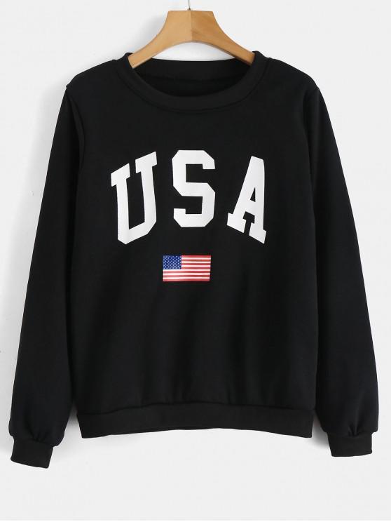 lady USA Flag Graphic Sweatshirt - BLACK XL