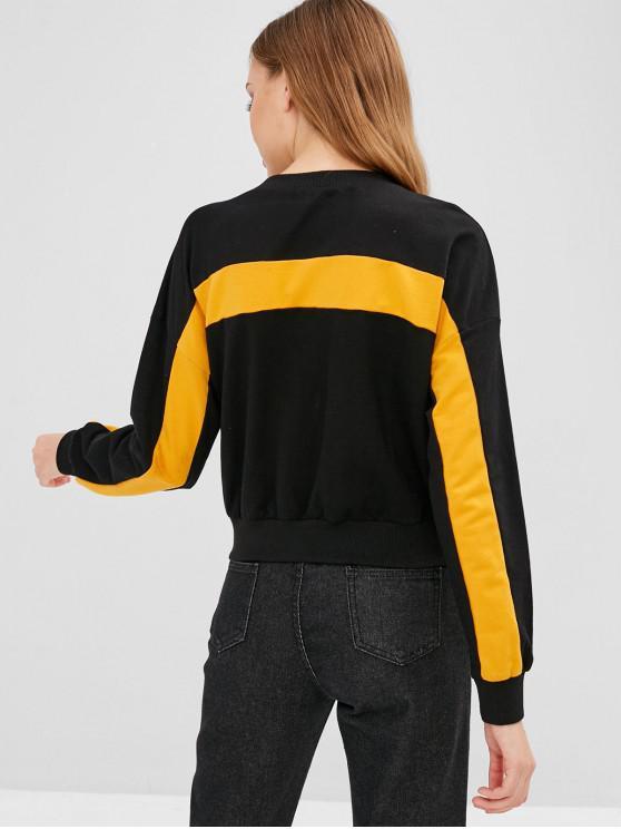 shirt ContrastéNoir Xl Sweat Bicolore Zaful 34jc5LqRA
