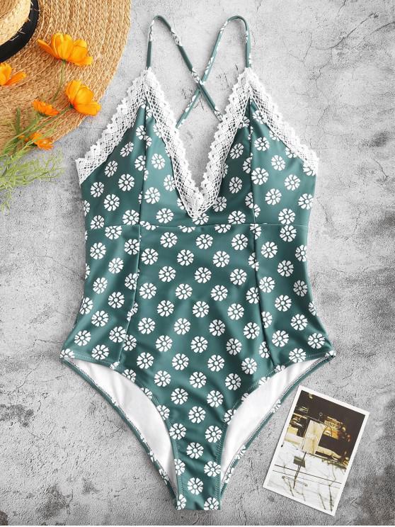 ZAFUL Traje de baño de una pieza de Criss Cross con encaje floral - Azul Opaco XL