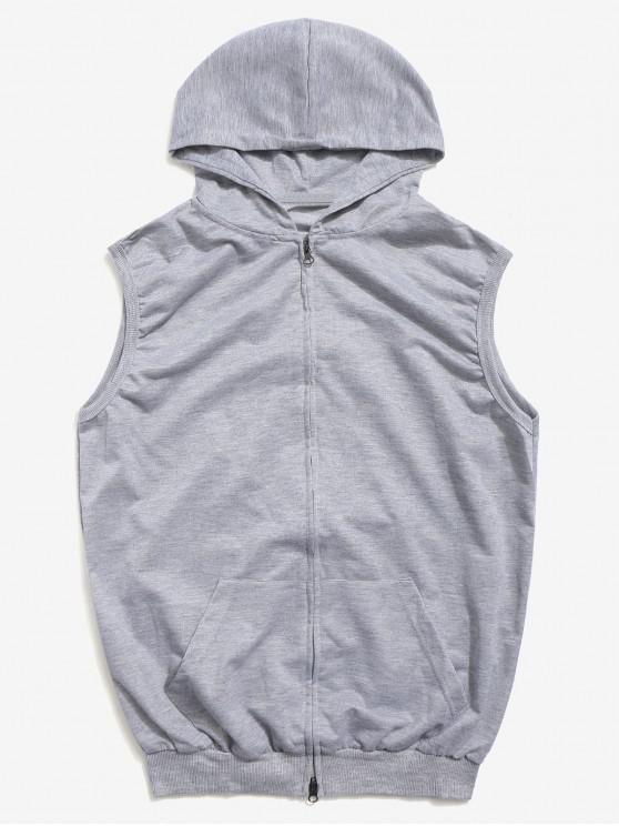 best Solid Zipper Hooded Vest Jacket - GRAY 2XL