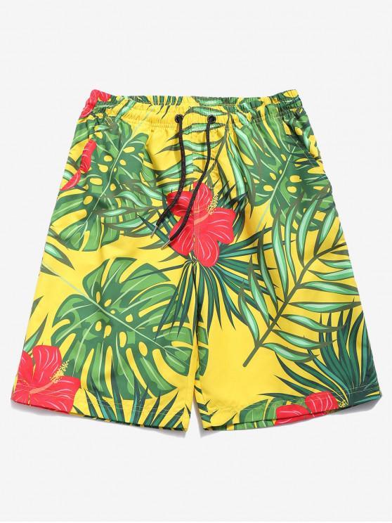 hot Flowes Leaves Print Beach Shorts - MULTI-A XL