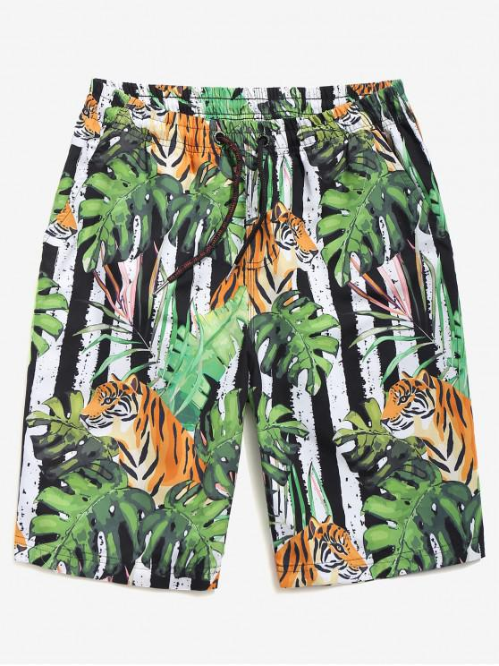 shop Tiger Leaves Print Board Shorts - MULTI-A L