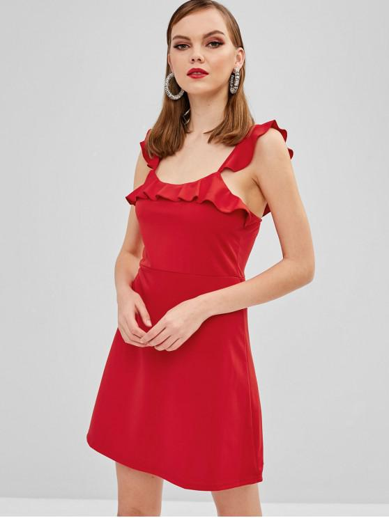 ZAFUL Ruffles sin mangas un vestido de línea - Rojo de Rubí M