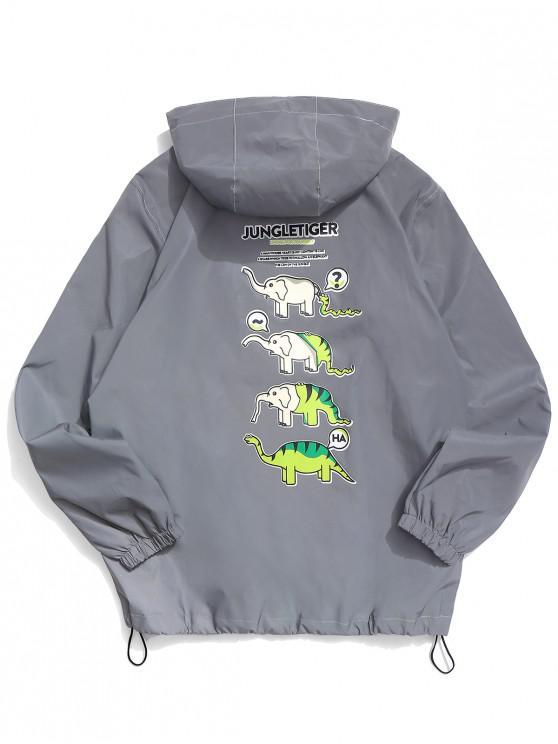 online Cartoon Animal Graphic Reflective Light Jacket - GRAY XS
