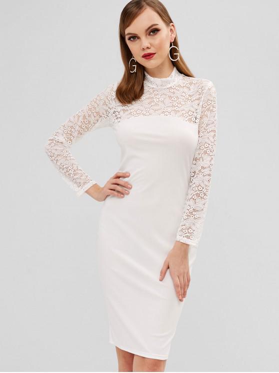 sale Mock Neck Lace Panel Long Sleeve Dress - WHITE S
